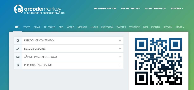 Ejemplo de mejores herramientas para diseño web en 2022: QRCode Monkey