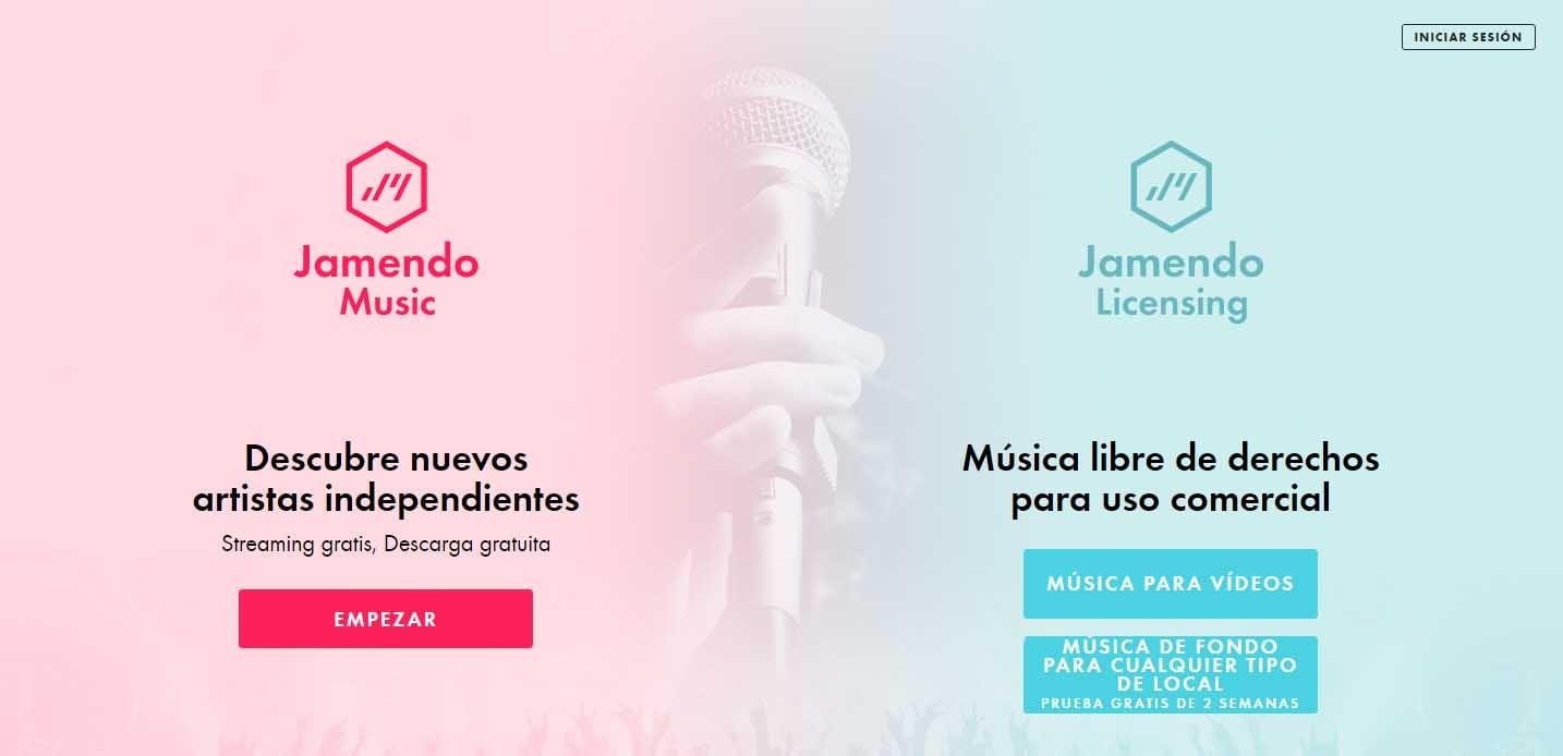 Bancos de música libre de derechos para videos: Jamendo