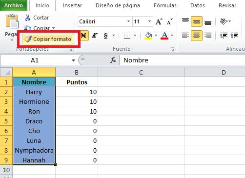 Atajo de Excel, ejemplo: cómo copiar el formato de celdas