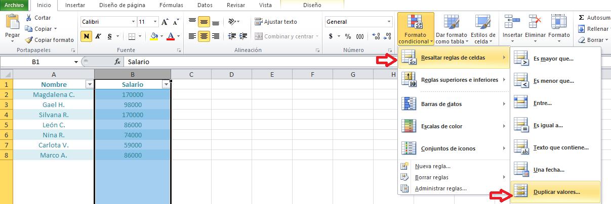 Atajo de Excel: cómo detectar valores duplicados