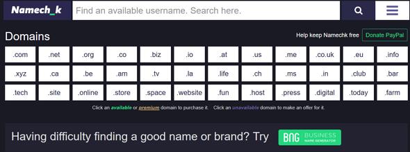 Programas de marketing de contenidos: Namechk