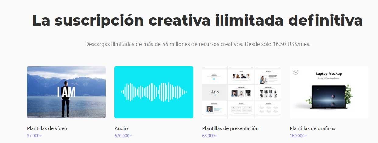 Bancos de música libre de derechos para videos: Envato Elements