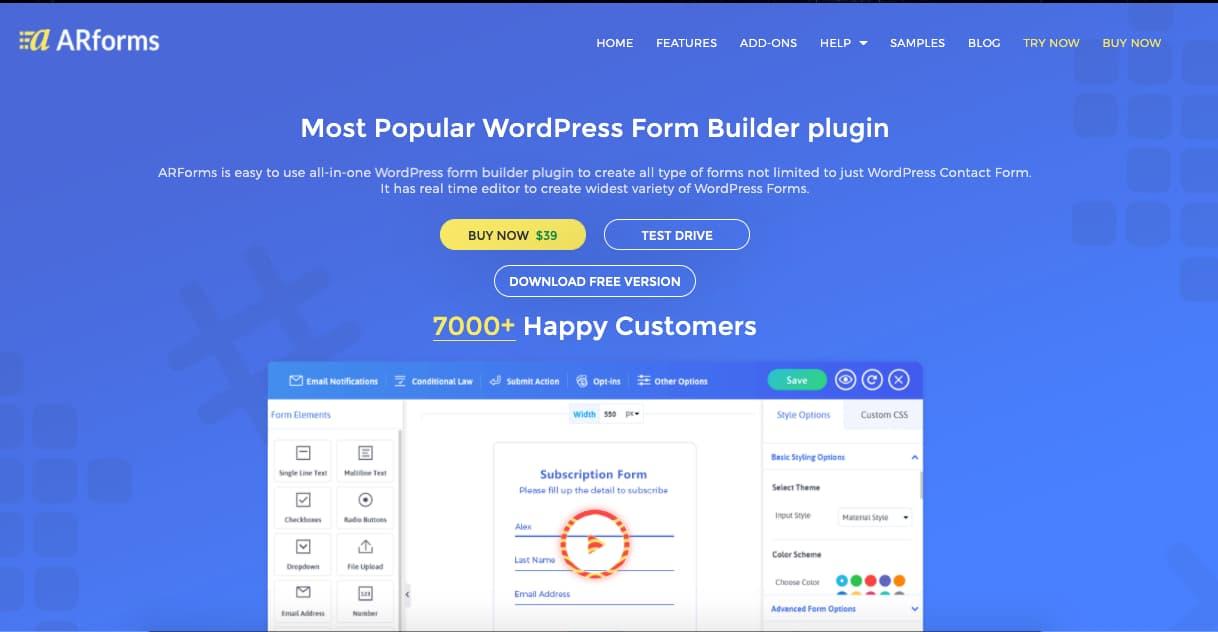 Mejores plugins para formulario de WordPress: ARForms