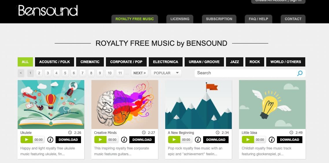 Música para presentaciones gratis: Bensound