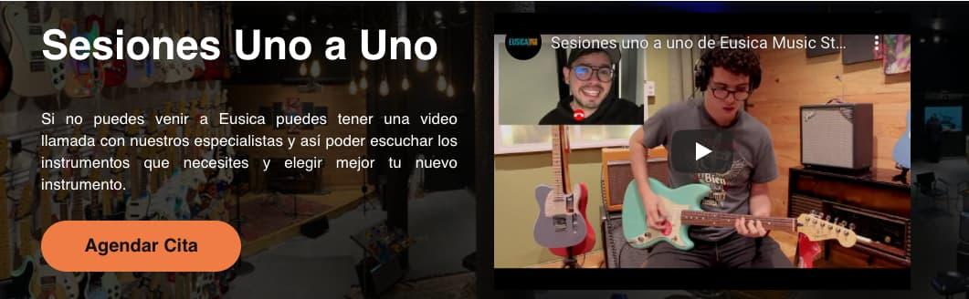 Ejemplo de CTA con bordes redondeados de Eusica Music Store