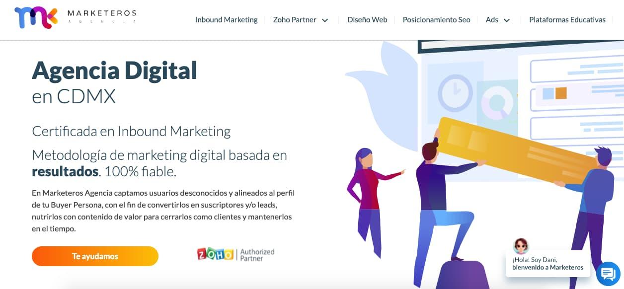 Ejemplo de CTA de Agencia Marketeros