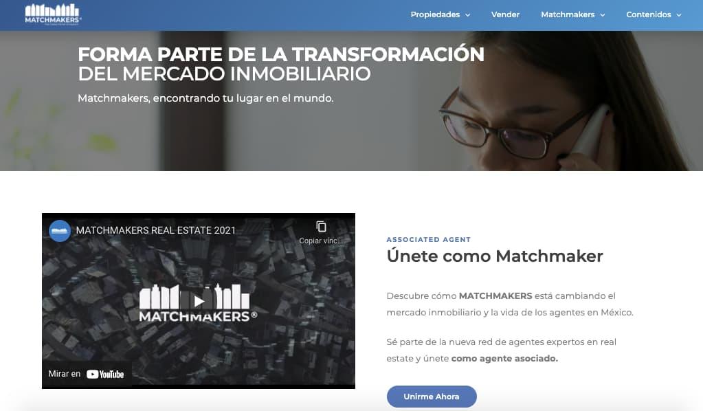 Ejemplo de CTA de Matchmakers