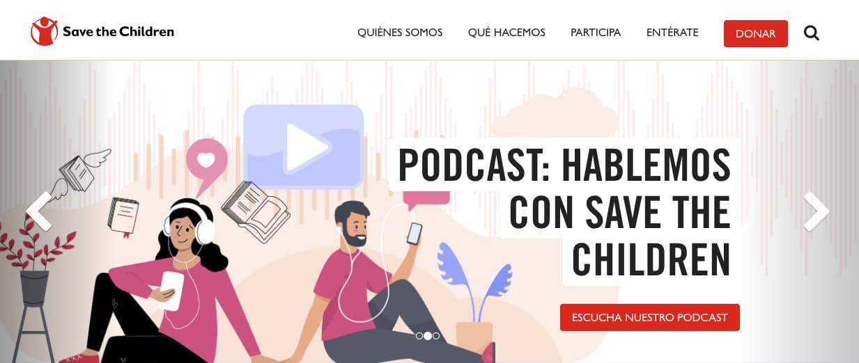 Ejemplo de llamada a la acción con colores de Save the Children México