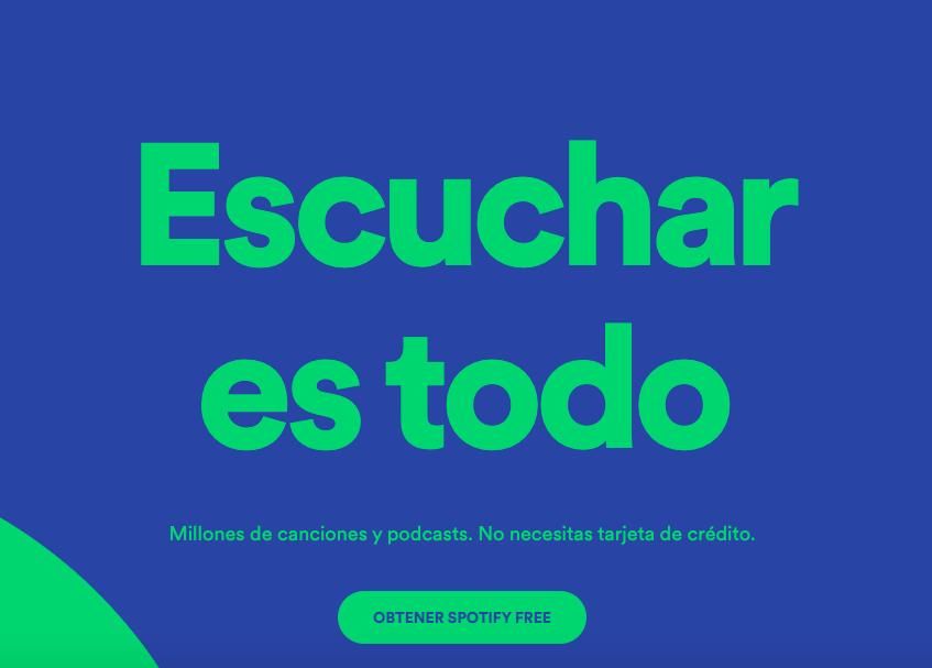 Ejemplo de CTA con colores de Spotify