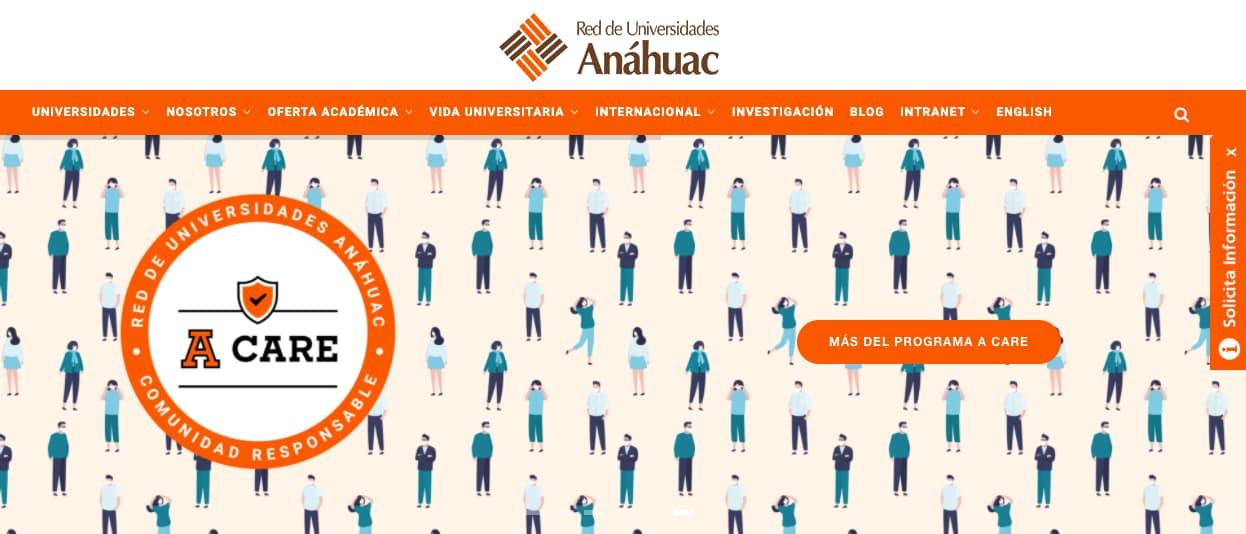 Ejemplo de CTA con posicionamiento poco convencional de Universidad Anáhuac