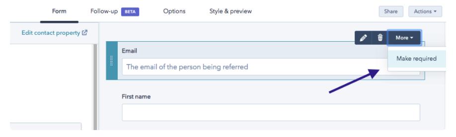 Herramientas de HubSpot para conseguir referencias: campo de correo electrónico