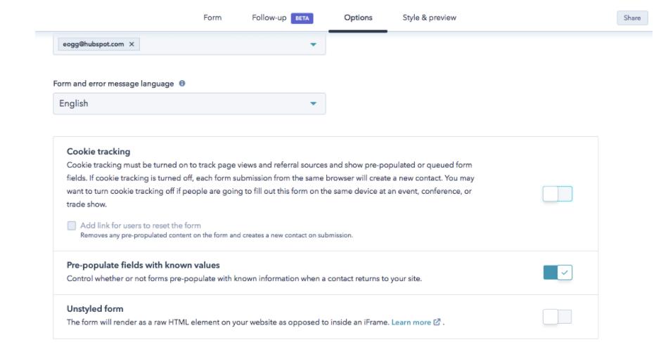 Configuración de seguimiento de cookies en formularios de HubSpot