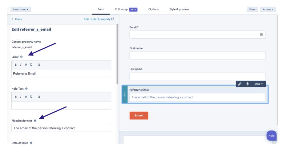 Editar las propiedades de un formulario de HubSpot