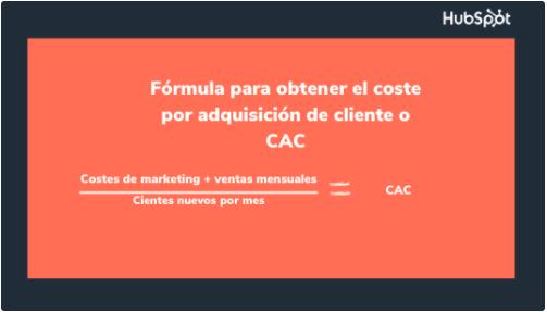 Fórmula para costo por adquisición o CAC para un presupuesto de marketing