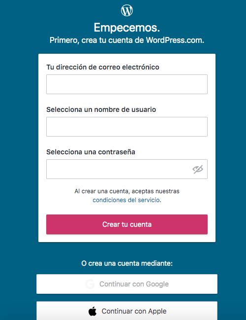 WordPress: comenzar una cuenta