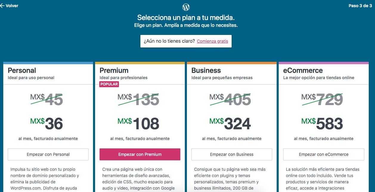 Elegir un plan de pagos en WordPress