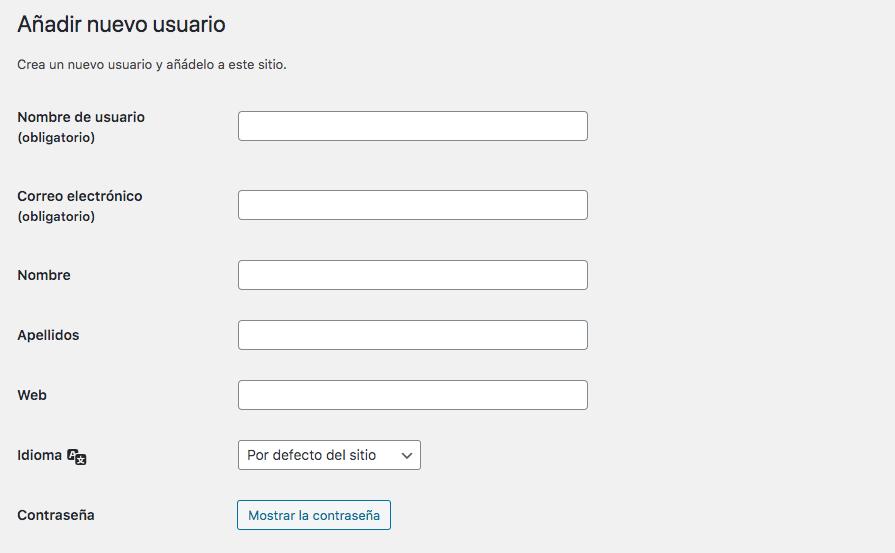 Añadir nuevo usuario en WordPress