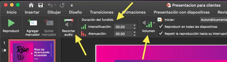 Opciones para personalizar audio en Power Point
