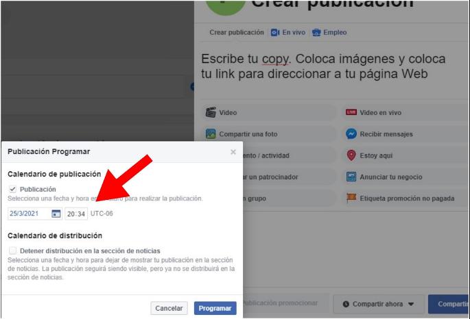 Cómo programar publicaciones en Facebook: selecciona fecha y hora de publicación