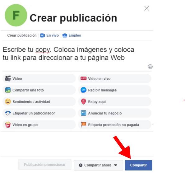 Cómo programar publicaciones en Facebook: selecciona «compartir»