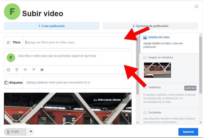 Cómo programar un video en Facebook: Agrega el título de tu video