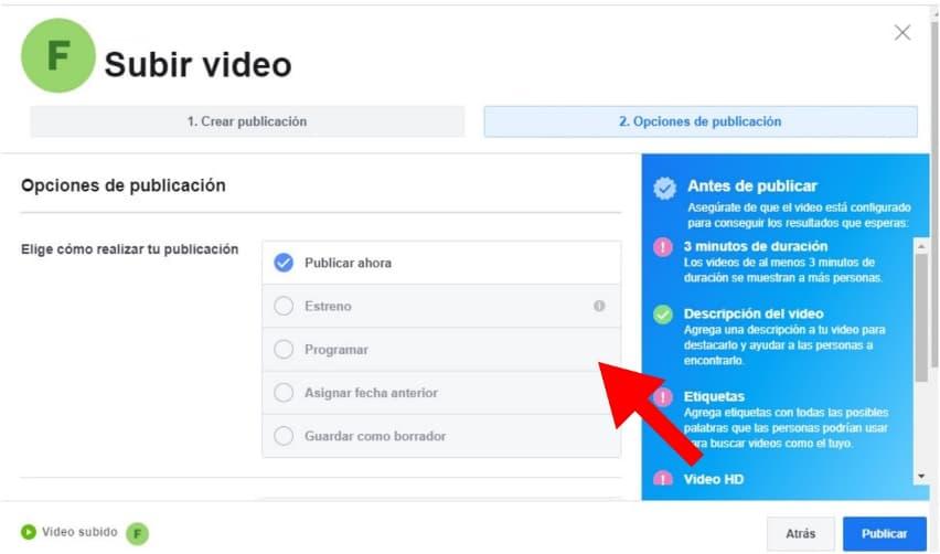 Cómo programar un video en Facebook: programa tu video