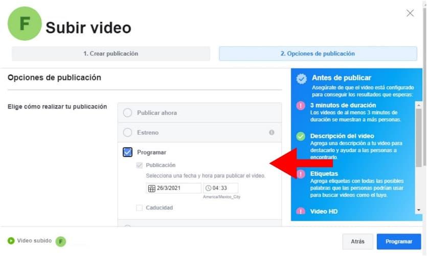 Cómo programar un video en Facebook: elige hora y día de publicación