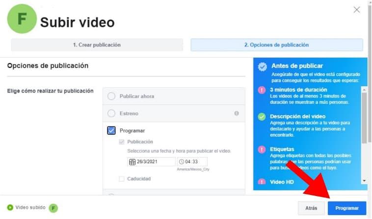 Cómo programar un video en Facebook: revisa la información y programa tu video