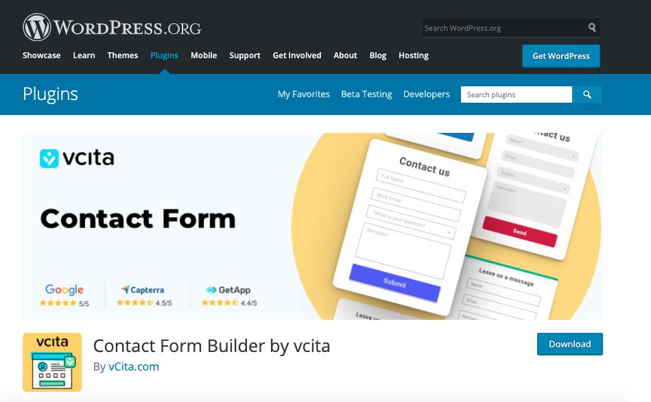 Mejores plugins para formulario de contacto de WordPress: Contact form builder by vCita