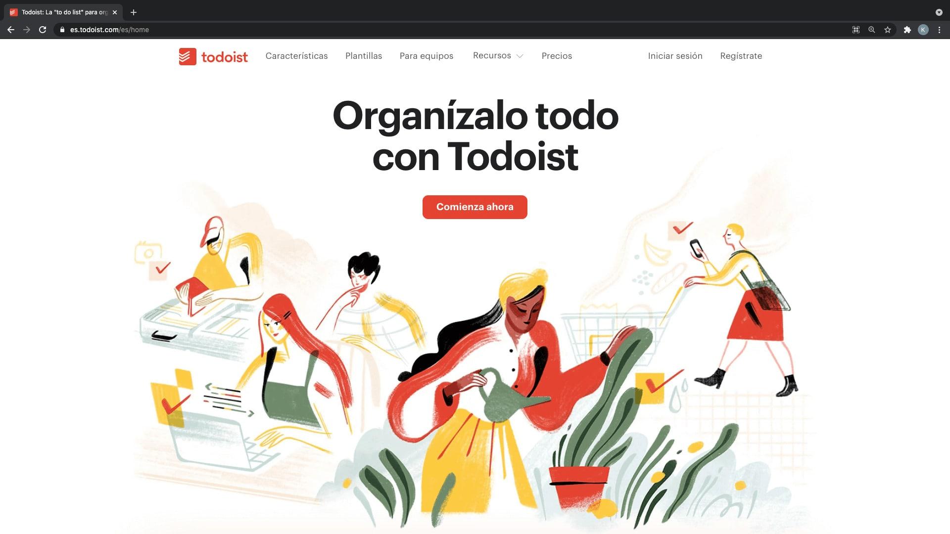 Todoist, recurso disponible para la organización de tareas