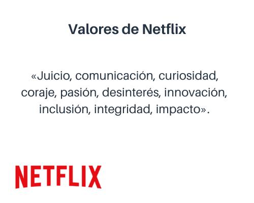 Ejemplos de valores en una empresa: Netflix