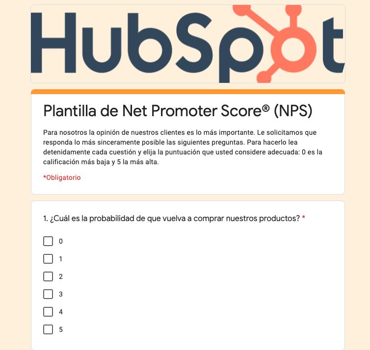 Ejemplo de encuesta de satisfacción del cliente con plantilla de HubSpot
