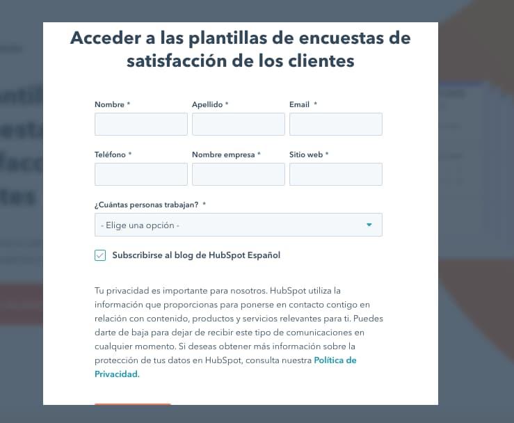 Modelo de encuesta de satisfacción del cliente: acceso