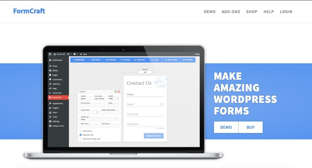 Mejores plugins para formulario de contacto de WordPress: FormCraft