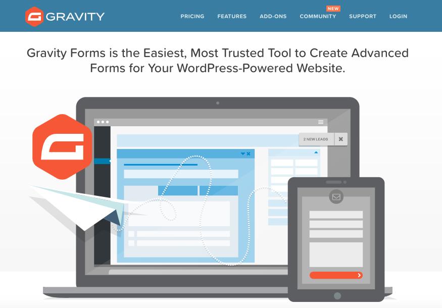Mejores plugins para formulario de contacto de WordPress: Gravity Forms