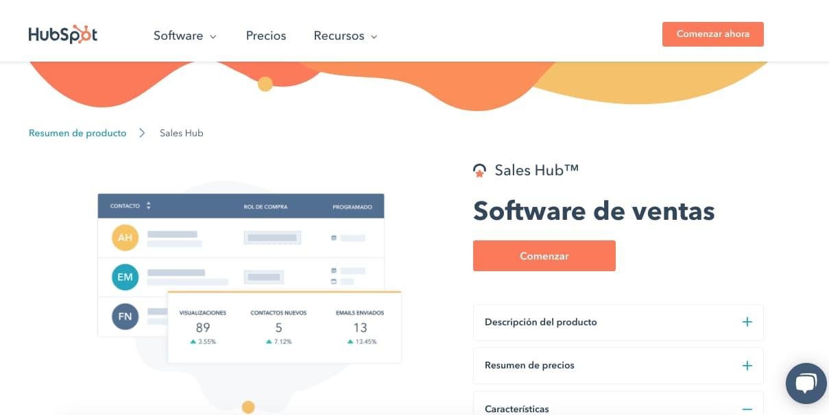 Mejores herramientas para el departamento de ventas: Sales Hub de HubSpot