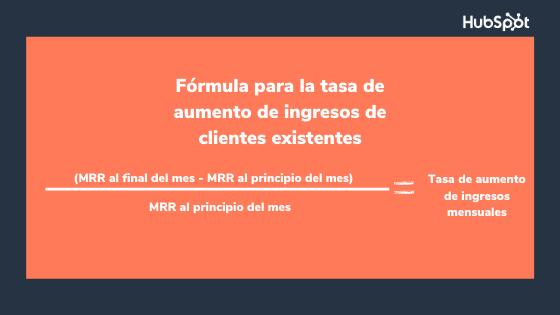 Fórmula del indicador de retención de clientes sobre aumento de ingresos