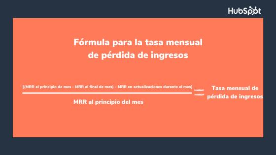 Fórmula del indicador de retención de clientes sobre pérdida de ingresos