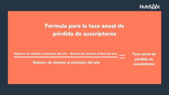 Fórmula del indicador de retención de clientes sobre la pérdida de suscriptores