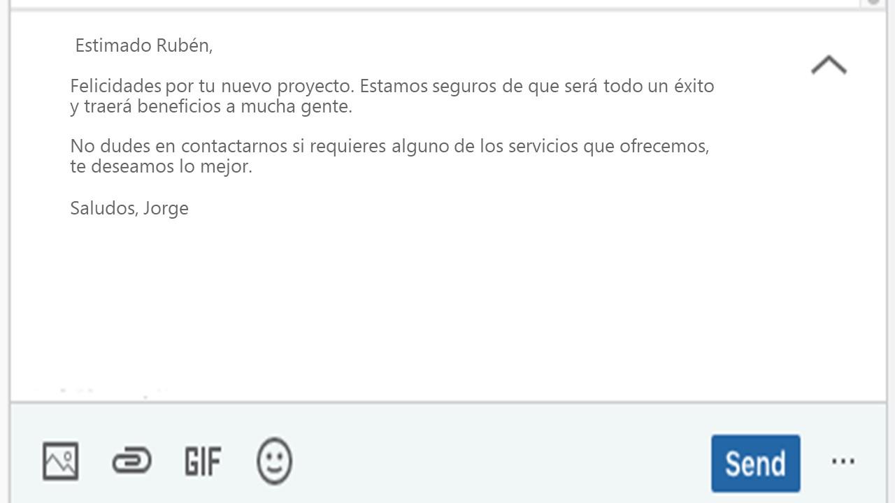 Ejemplo de InMail de LinkedIn para ventas