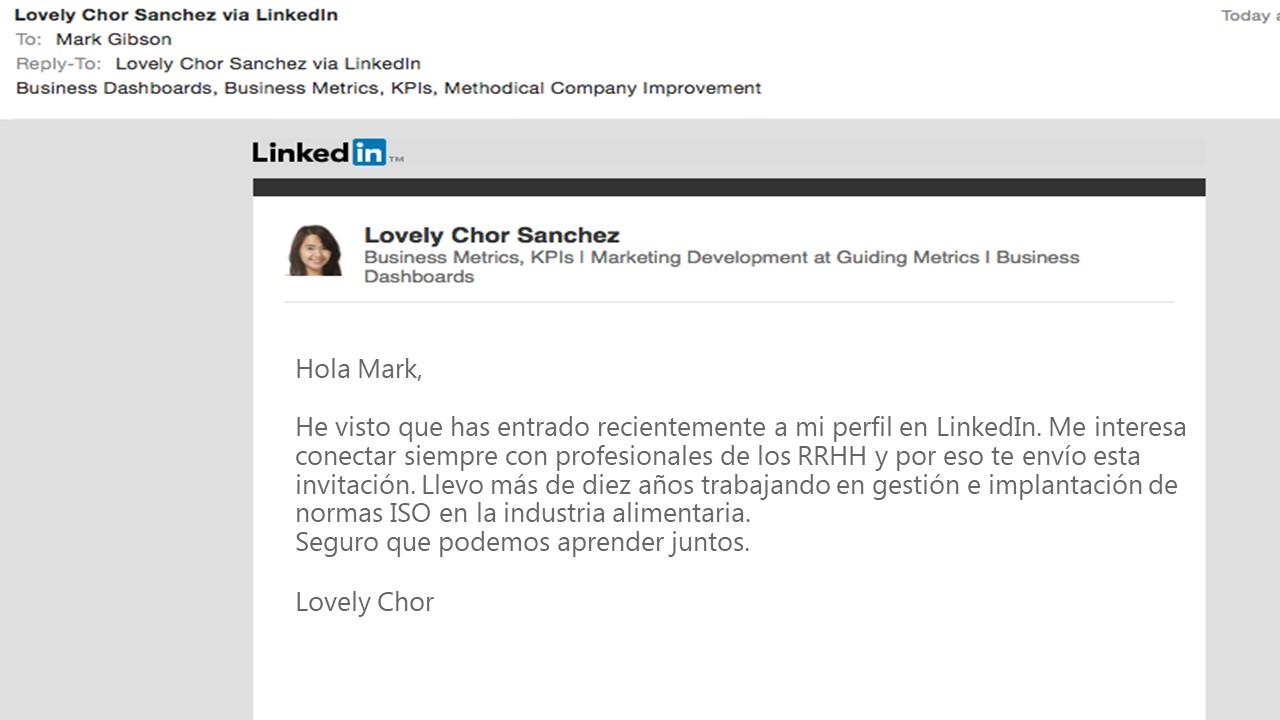 Ejemplo de InMail en LinkedIn para conexión