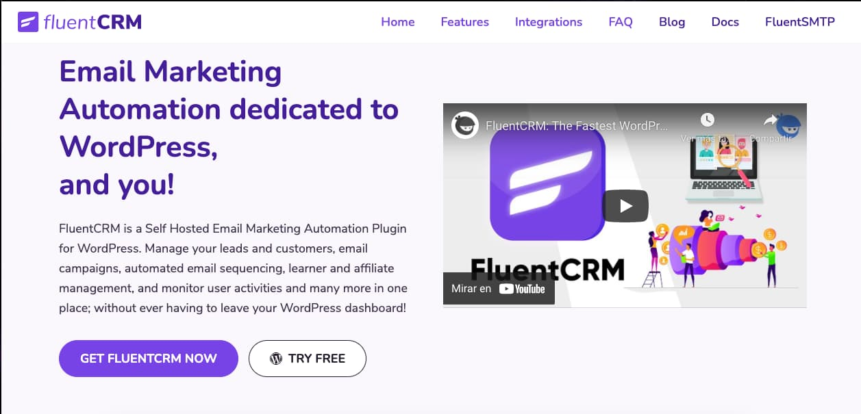 Plugins CRM para WordPress: FluentCRM