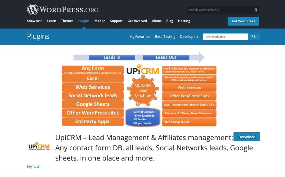 Plugins CRM para WordPress: UPI CRM