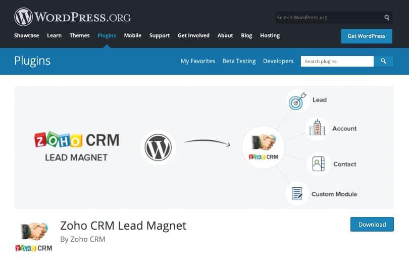 Plugins CRM para WordPress: Zoho