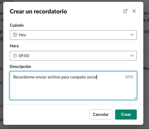 Cómo crear un recordatorio en Slack