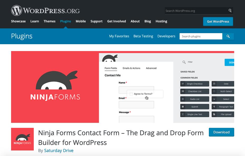 Mejores plugins para formulario de contacto de WordPress: Ninja Form