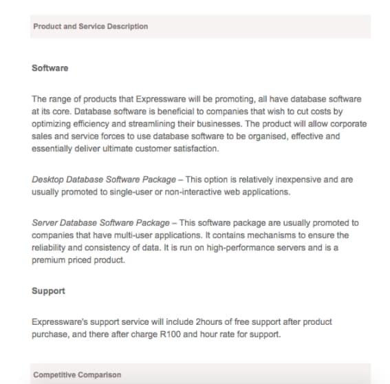 Ejemplo sobre productos y servicios en un plan de negocios