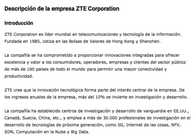 Ejemplo de la descripción de la empresa ZTE Corporation