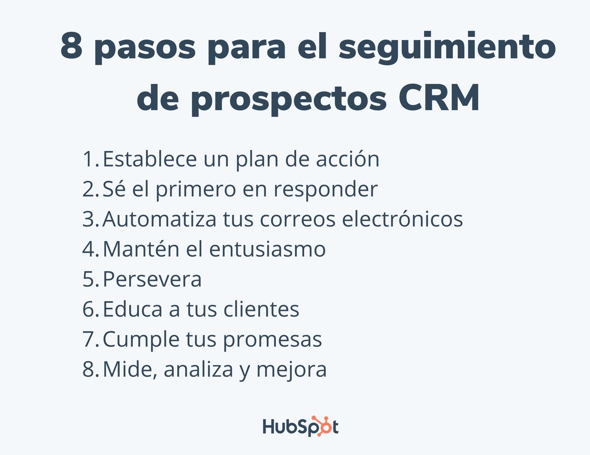 8 pasos para el seguimiento de prospectos de CRM