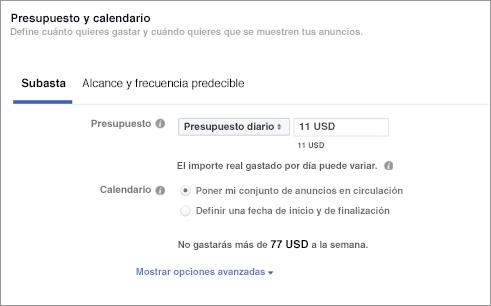 Cómo hacer publicidad en Facebook: presupuesto y calendario